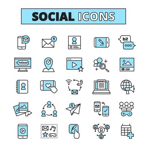 Conjunto de iconos de línea de medios sociales