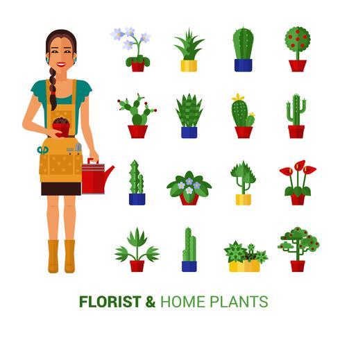 Florería y plantas caseras iconos planos