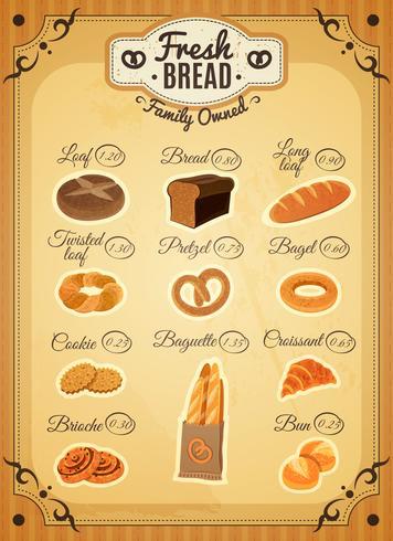 Weinlese-Art-Bäckerei-Preisliste-Plakat