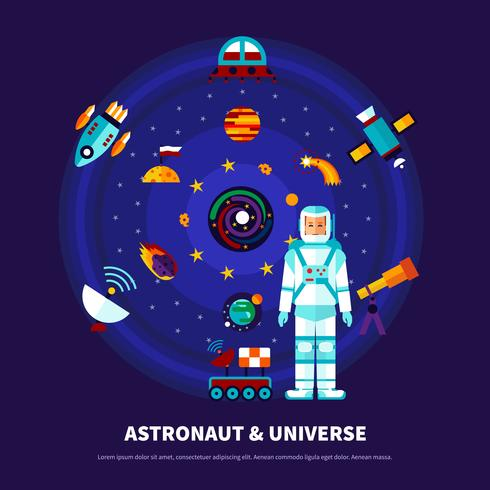 Astronaut And Universe Set vector