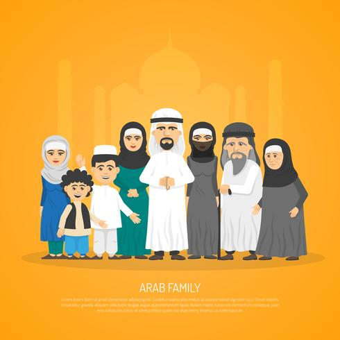 Cartaz árabe da família vetor