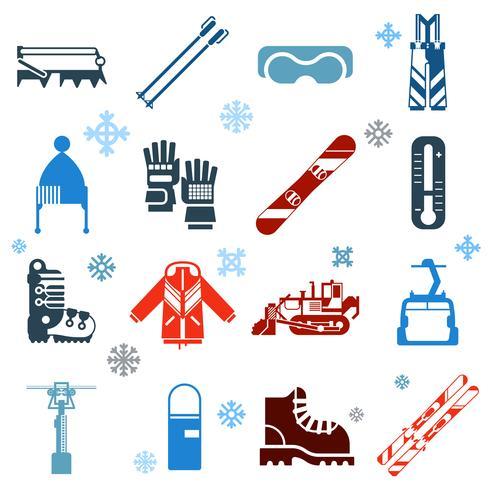 Plana ícones monocromáticos de esqui com flocos de neve