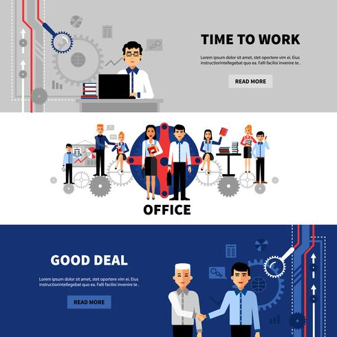 Business People 3 Flat Banners Set vector