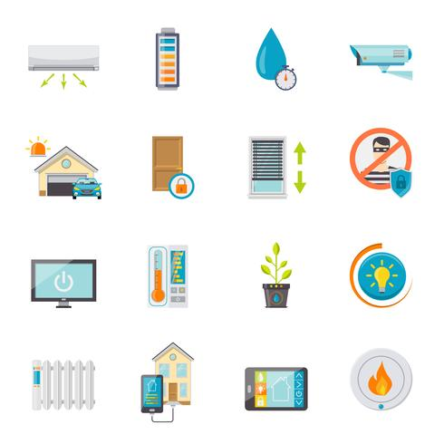 Smart House Flat Icons Set vector