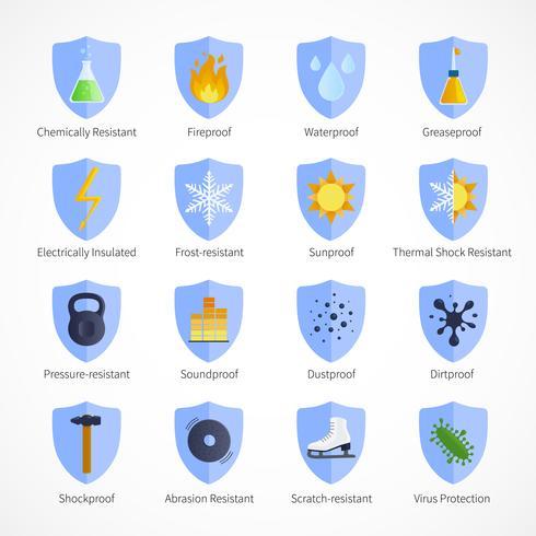 Emblemas de cores planas à prova de proteção vetor