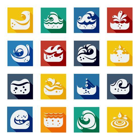 Wervelende golf kleuren Icons Set