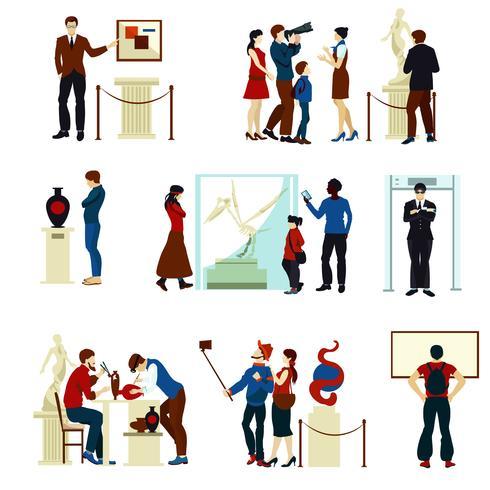 Gente en la galería del museo iconos de colores vector