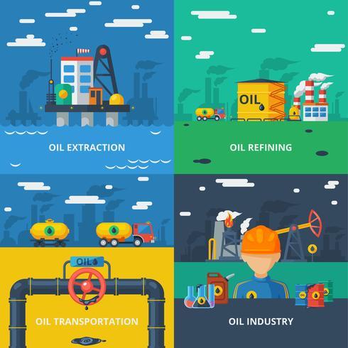Conjunto plana de la industria petrolera