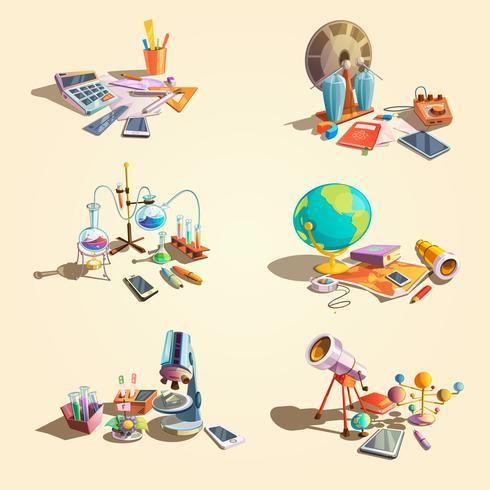 Wetenschap retro cartoon set vector