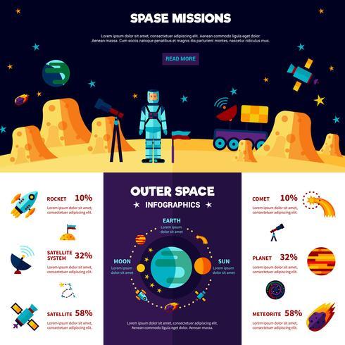 Misiones del espacio exterior Banners planos composición