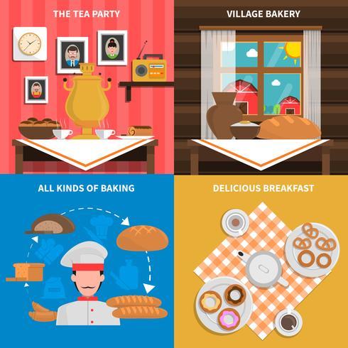 Set concetto di panetteria vettore