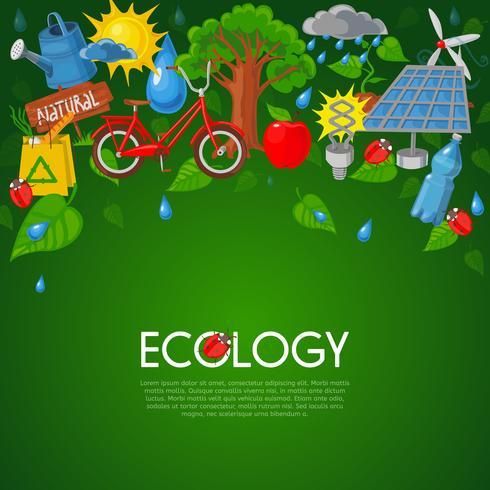 Ilustración plana ecología vector