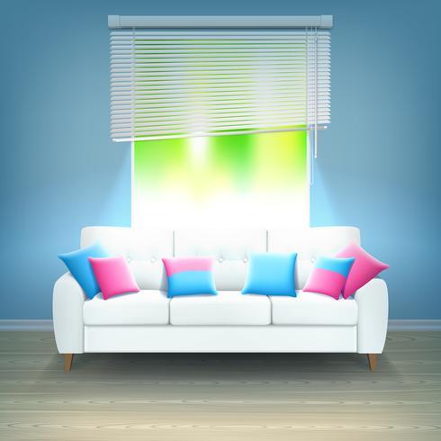Ilustração realística interior da luz de néon do sofá vetor