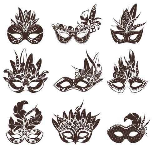 Masque noir blanc Icons Set vecteur