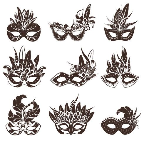 Maske schwarz weiße Icons Set vektor