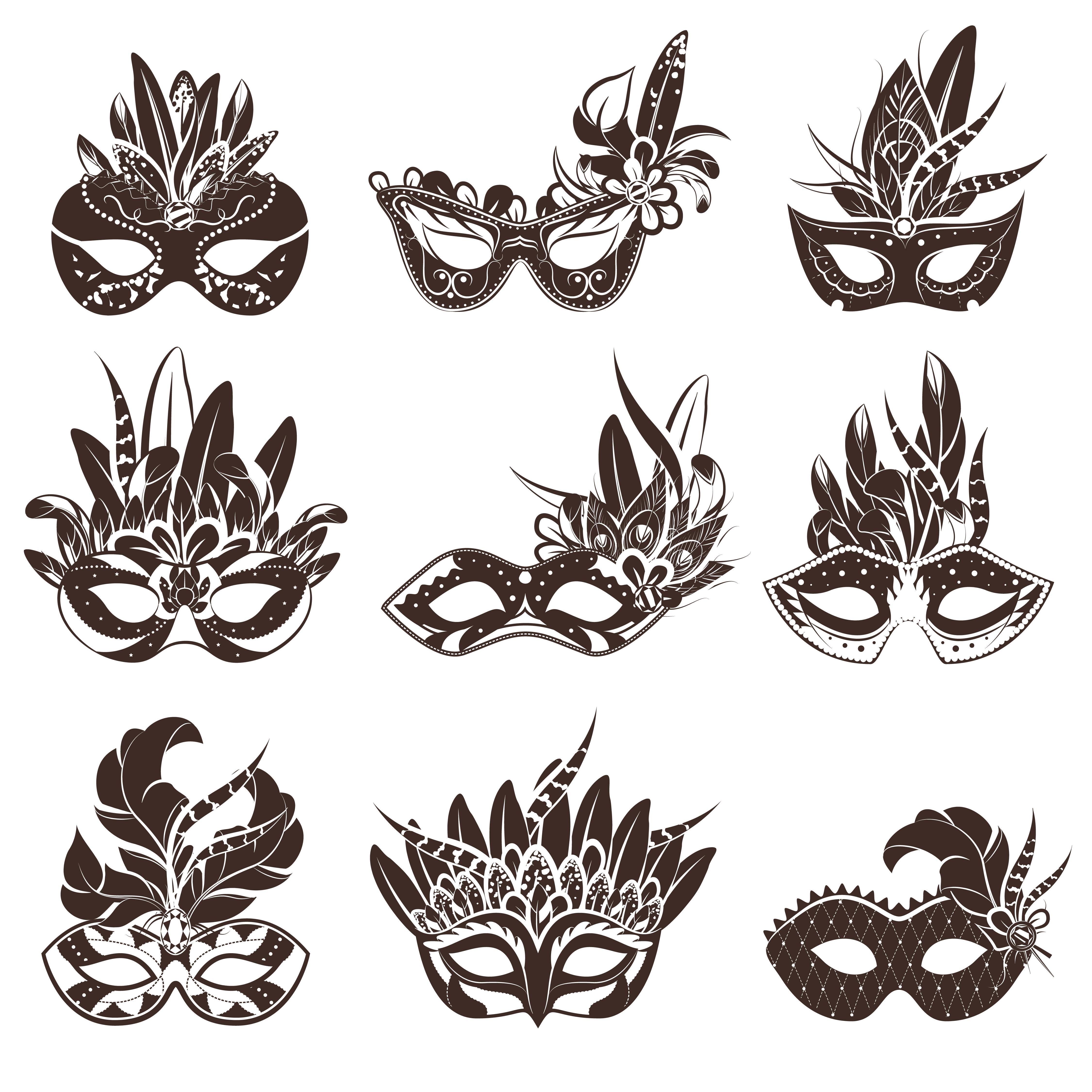 Mask Black White Icons Set - Download Free Vectors ...