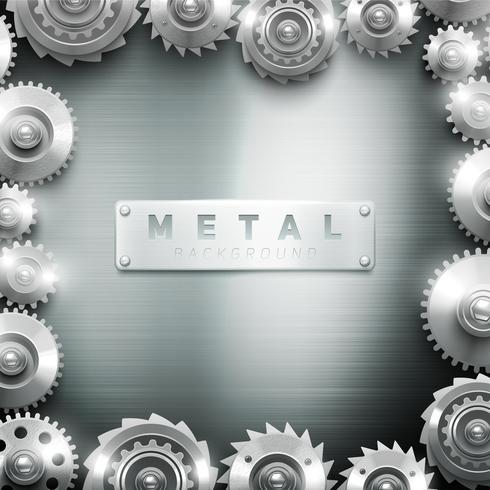 Fondo de diseño de marco de rueda dentada de metal