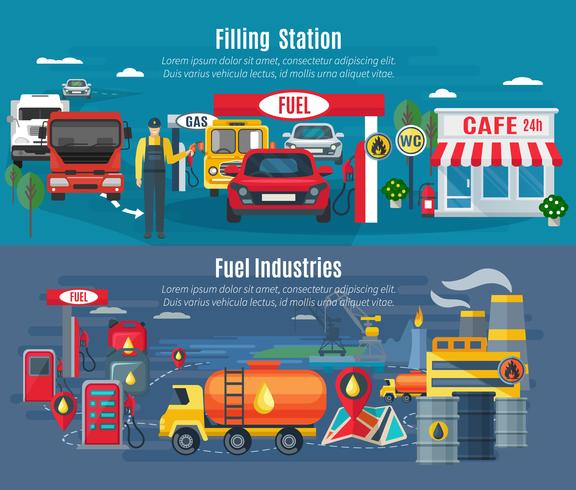 Filling Station Banners Set  vector