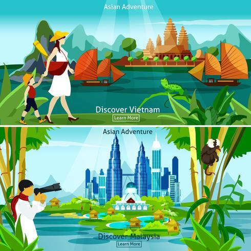 Vietnam et la Malaisie Voyage Compositions vecteur