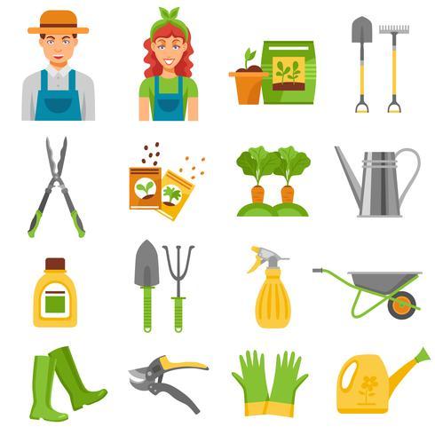 Jardinero herramientas accesorios planos iconos conjunto vector