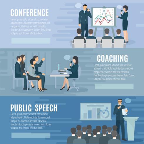 Public Speaking Flat Horizontal Banners Set