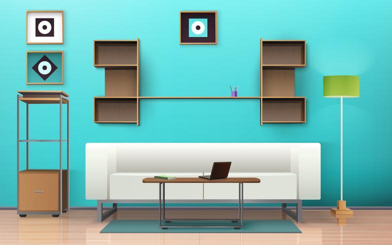 Diseño isométrico de la sala de estar vector