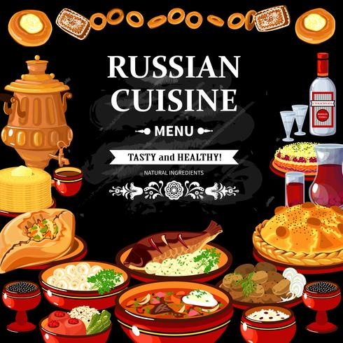 Póster del tablero negro del menú de cocina rusa vector