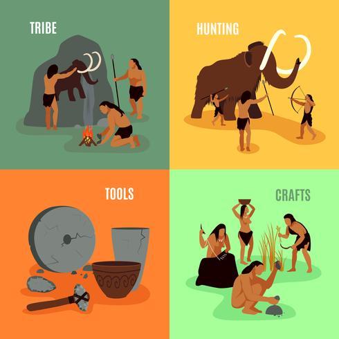 Prähistorische Steinzeit 2x2 Bilder