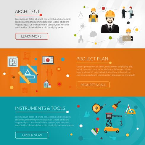 architect banner set vector