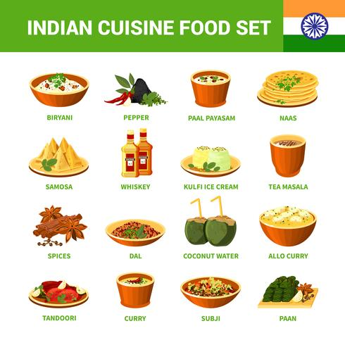 Indian Cuisine Food Set vector