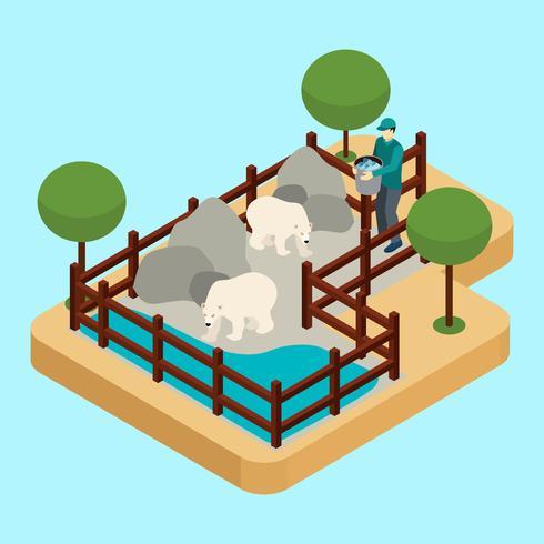 Ilustración del trabajador del zoológico