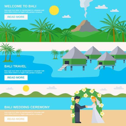 Conjunto de Banners de viajes de Bali vector