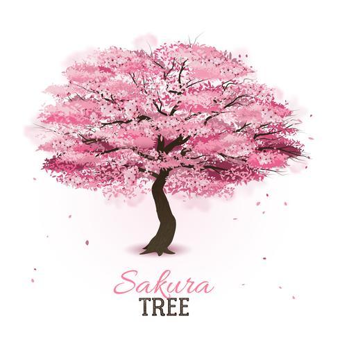Realistic sakura tree vector