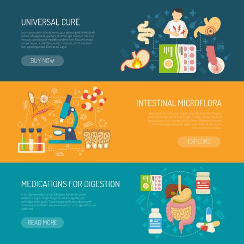Digestion Banners Set vector