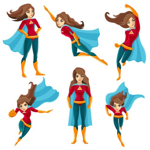 Conjunto de iconos de acciones de superwoman vector
