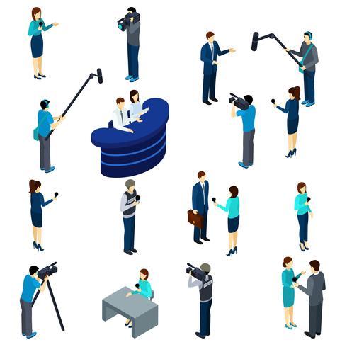 Periodista trabajo conjunto de iconos isométricos vector