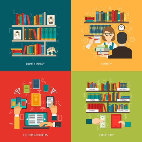 Library Concept 4 Flat Icons Square vector