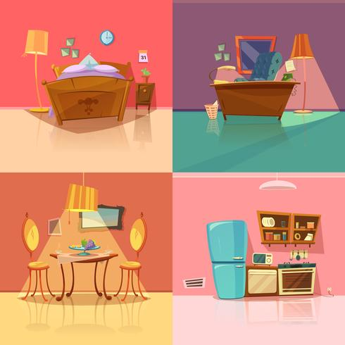 Conjunto retro interior vector