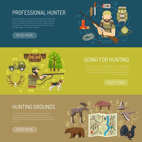 Colección de Banners horizontales de caza.