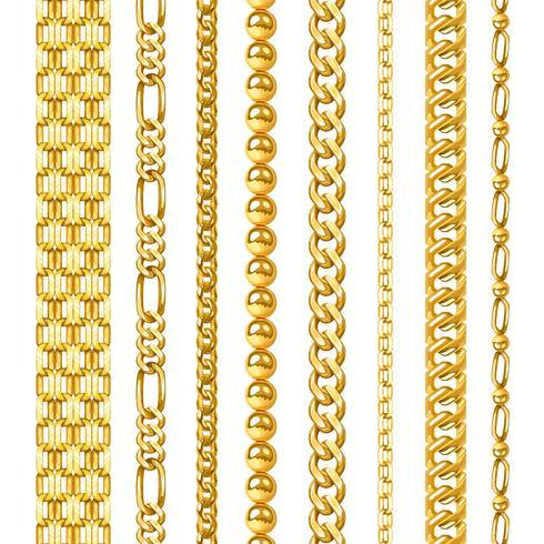 Conjunto de cadenas de oro vector