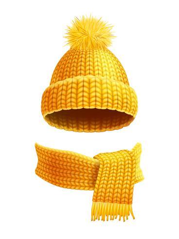 Sombrero hecho punto y bufanda ilustración plana