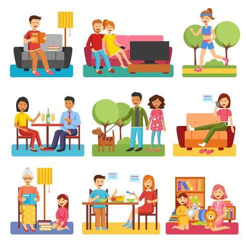 Iconos planos familiares vector