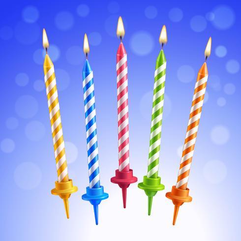 Conjunto de velas de aniversário vetor