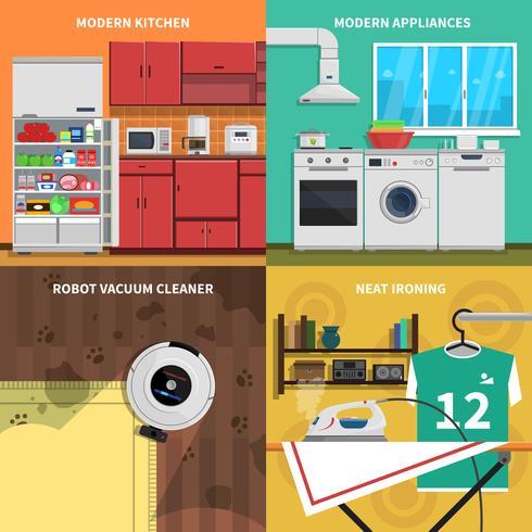Conjunto de ícones do conceito de aparelhos domésticos vetor