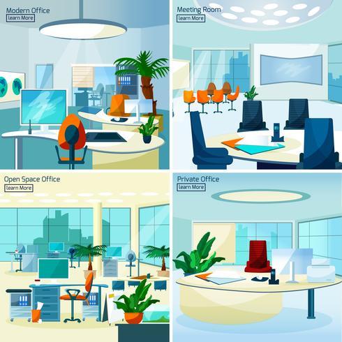 Concepto de diseño de interiores de oficina moderna 2x2 vector