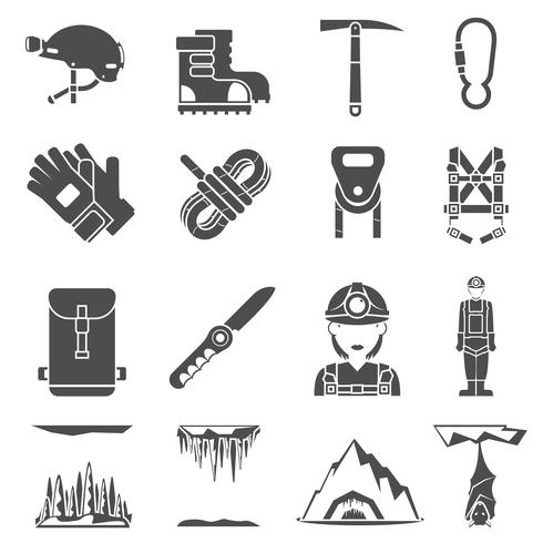 speleology black icons set