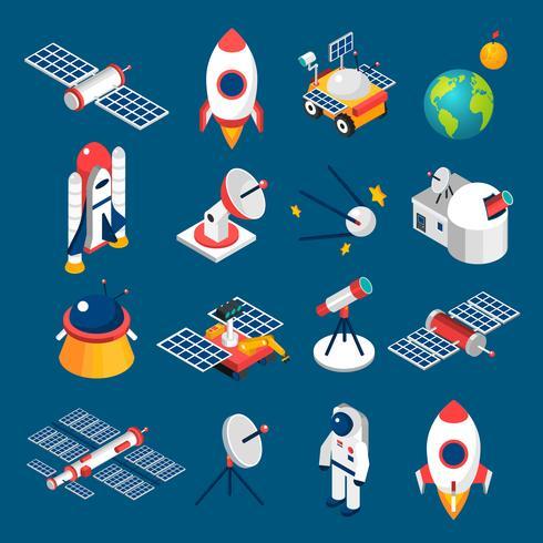 Iconos isométricos del espacio