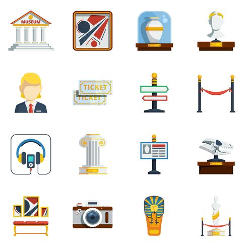 Museo plano conjunto de iconos vector