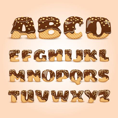 Frosted Chocolate Wafers Alphabet Letters Set vector