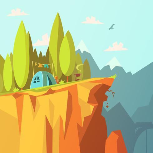 Carpa en un acantilado ilustración